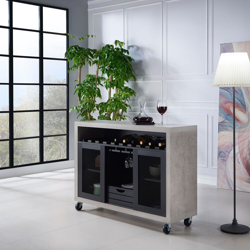 Furniture of America Moore Buffet in Black and Cement, , large