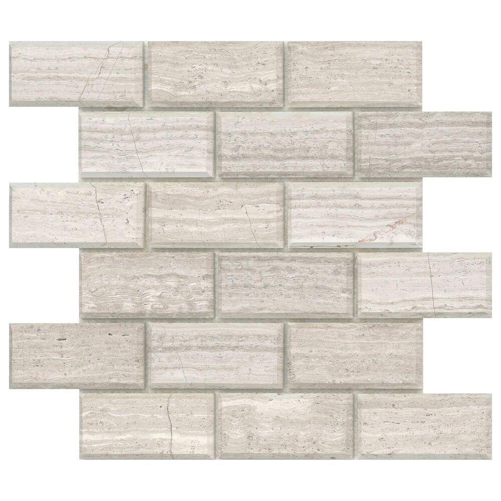 "Emser Metro Cream 2"" x 4"" Bevel on 12"" x 12"" Limestone Mosaic Sheet, , large"
