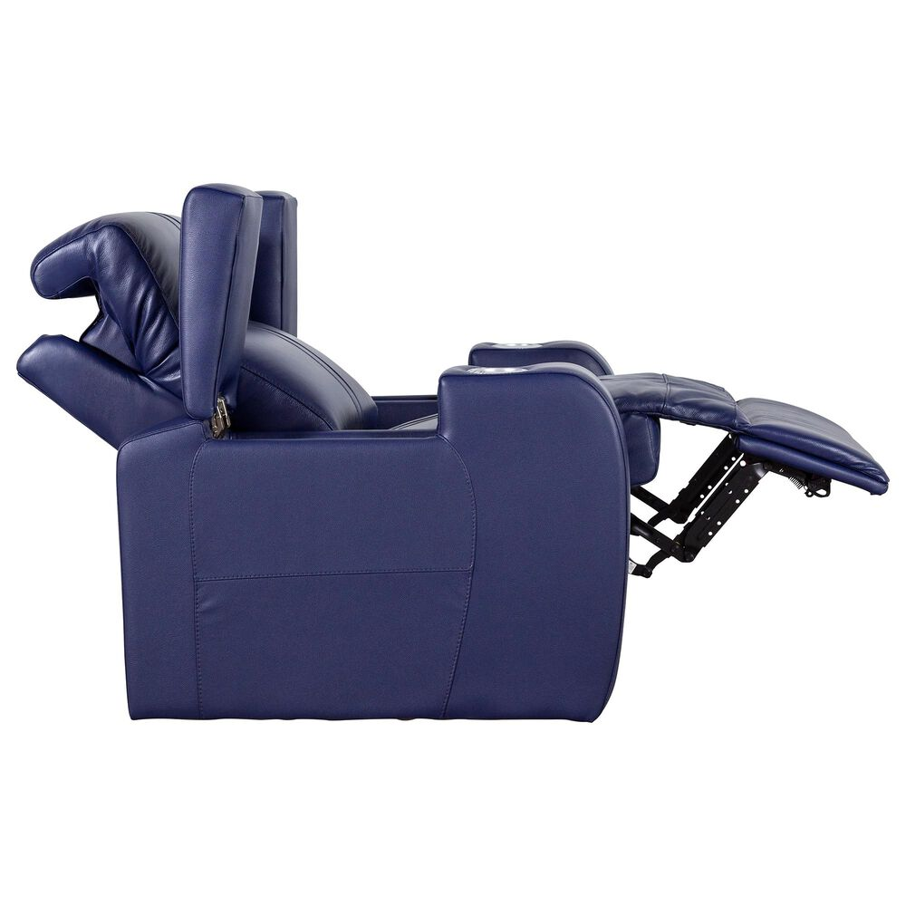 Style Expressions Flicks Leather Power Recliner with Headrest in Sapphire, , large