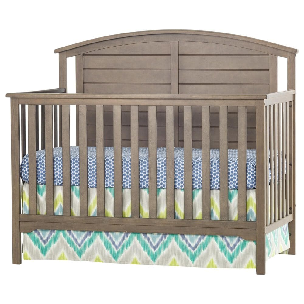 Foundations Worldwide Hampton Curve Top 4-In-1 Convertible Baby Crib in Dusty Heather, , large
