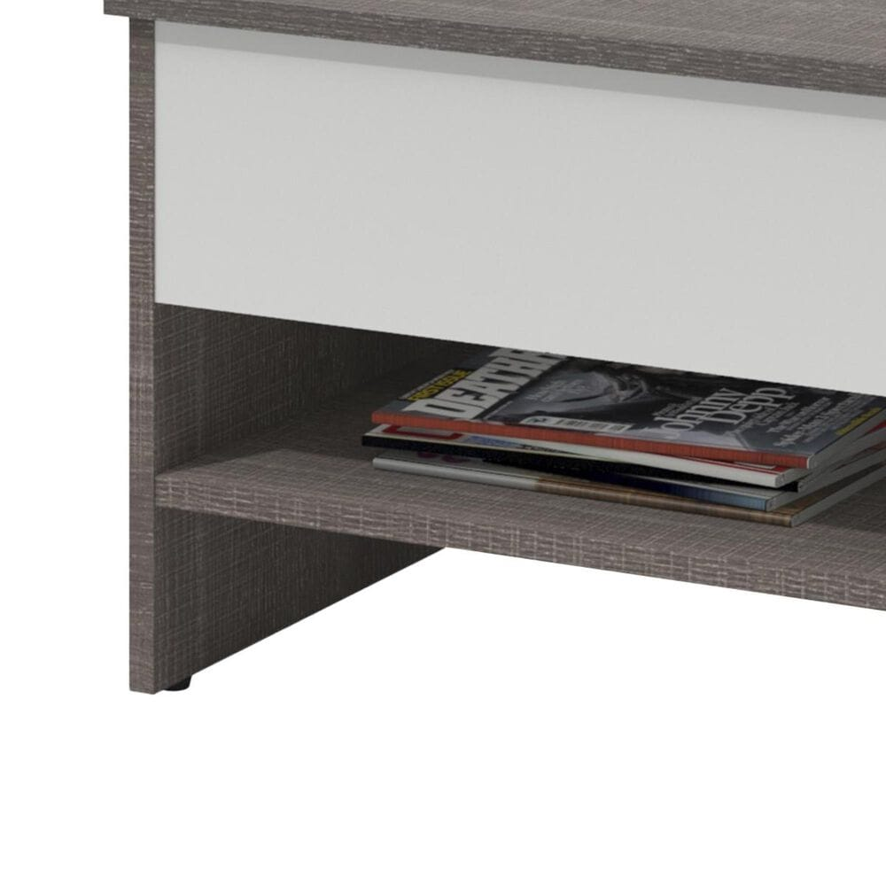 """Bestar Small Space 37"""" Lift Top Storage Coffee Table in Bark Gray and White, , large"""