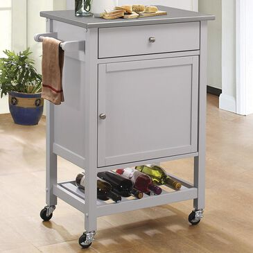 Gunnison Co. Hoogzen Kitchen Cart in Gray with Stainless Steel Top, , large