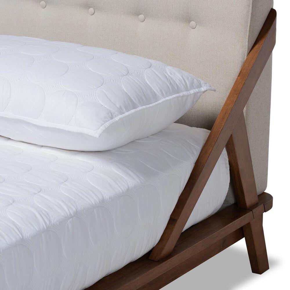Baxton Studio Sante Queen Upholstered Platform Bed in Beige/Walnut, , large