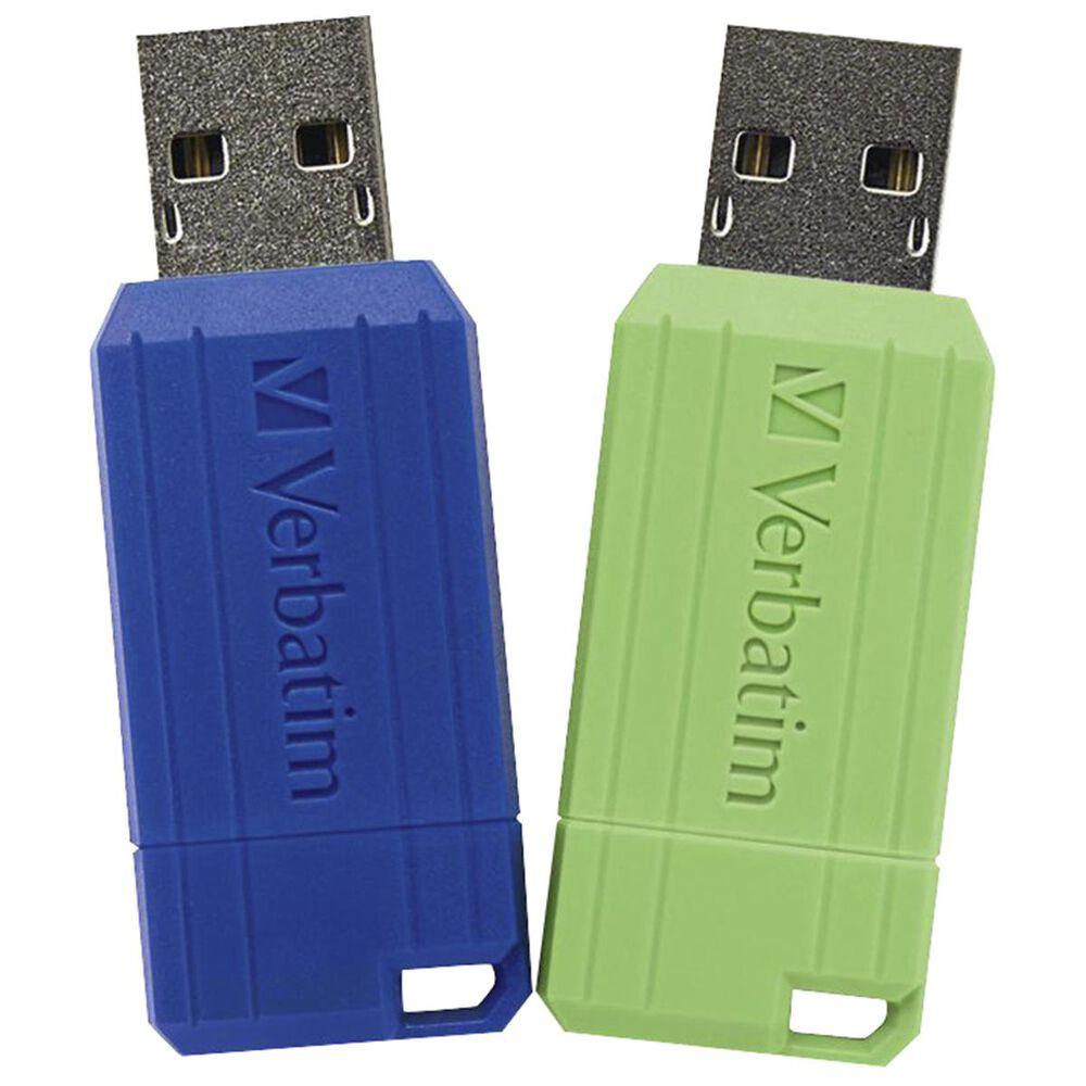 Verbatim 2-Pack 32 GB Pinstripe USB Flash Drive in Blue and Green, , large