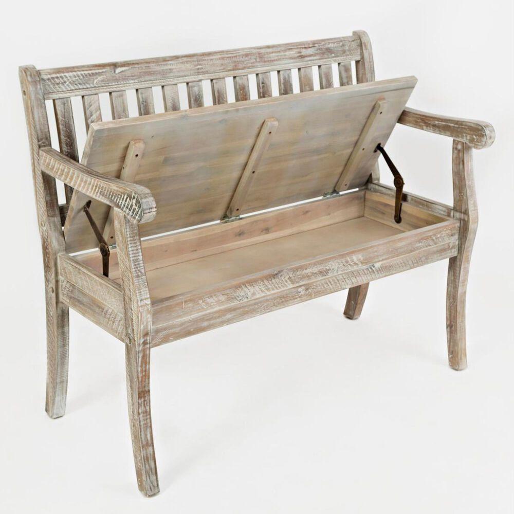 Waltham Artisan's Craft Storage Bench in Washed Gray, , large