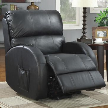 Pacific Landing Top Grain Leather Power Lift Recliner in Black, , large