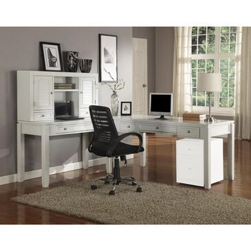 Simeon Collection 4-Piece L-Desk with Hutch in White, , large