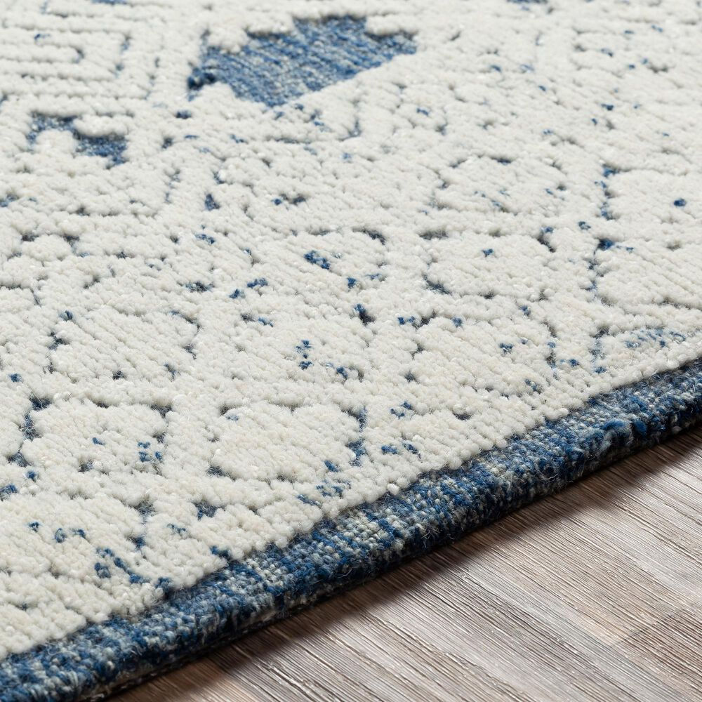 """Surya Louvre LOU-2300 2'6"""" x 8' Navy, Cream and Ice Blue Scatter Rug, , large"""