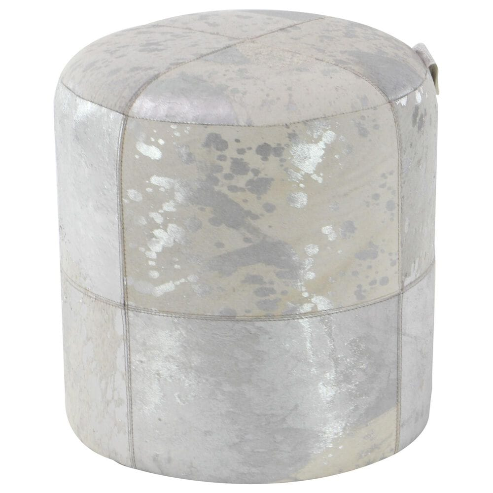 Maple and Jade Round Ottoman in Silver and White, , large