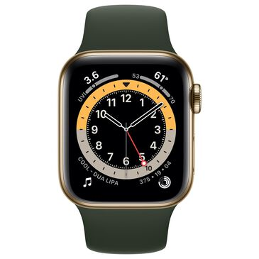 Apple Watch Series 6 GPS + Cellular 40mm with Cyprus Green Sport Band in Gold Stainless Steel Case with AppleCare+, , large