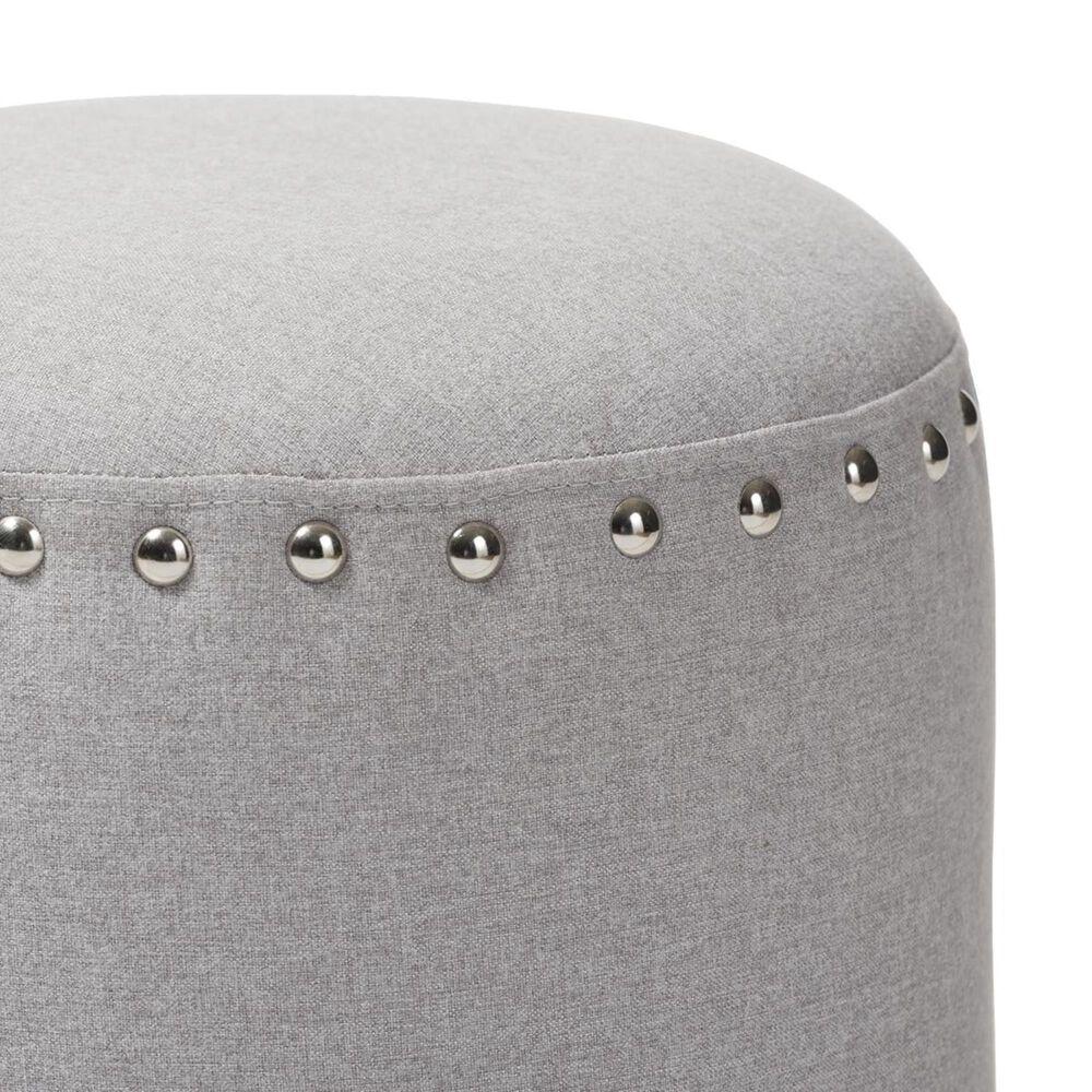Baxton Studio Rosine Upholstered Nail Trim Ottoman in Light Grey, , large