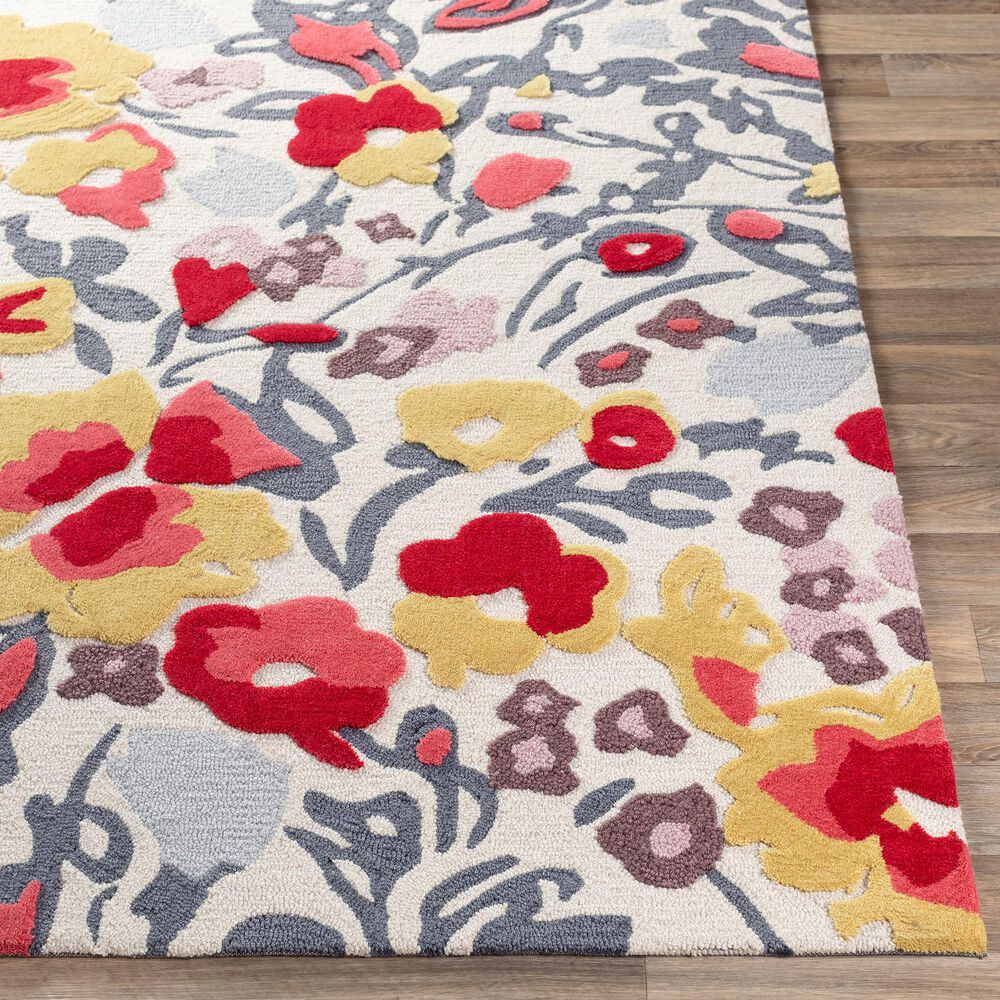 "Surya Botanical 5' x 7'6"" Gray, Mustard, Red and Ivory Area Rug, , large"