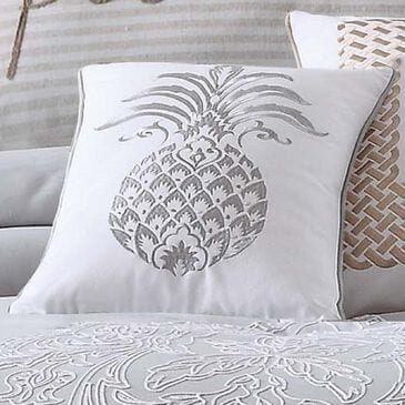 Pem America Tropical Plantation Pineapple Pillow in Grey and White, , large