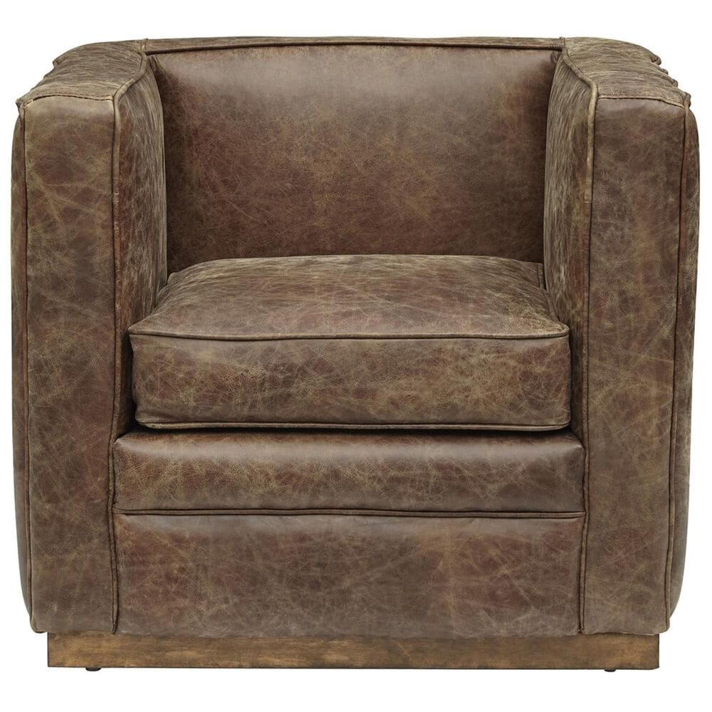 Accentric Approach Accentric Accents Leather Chair in Brown, , large