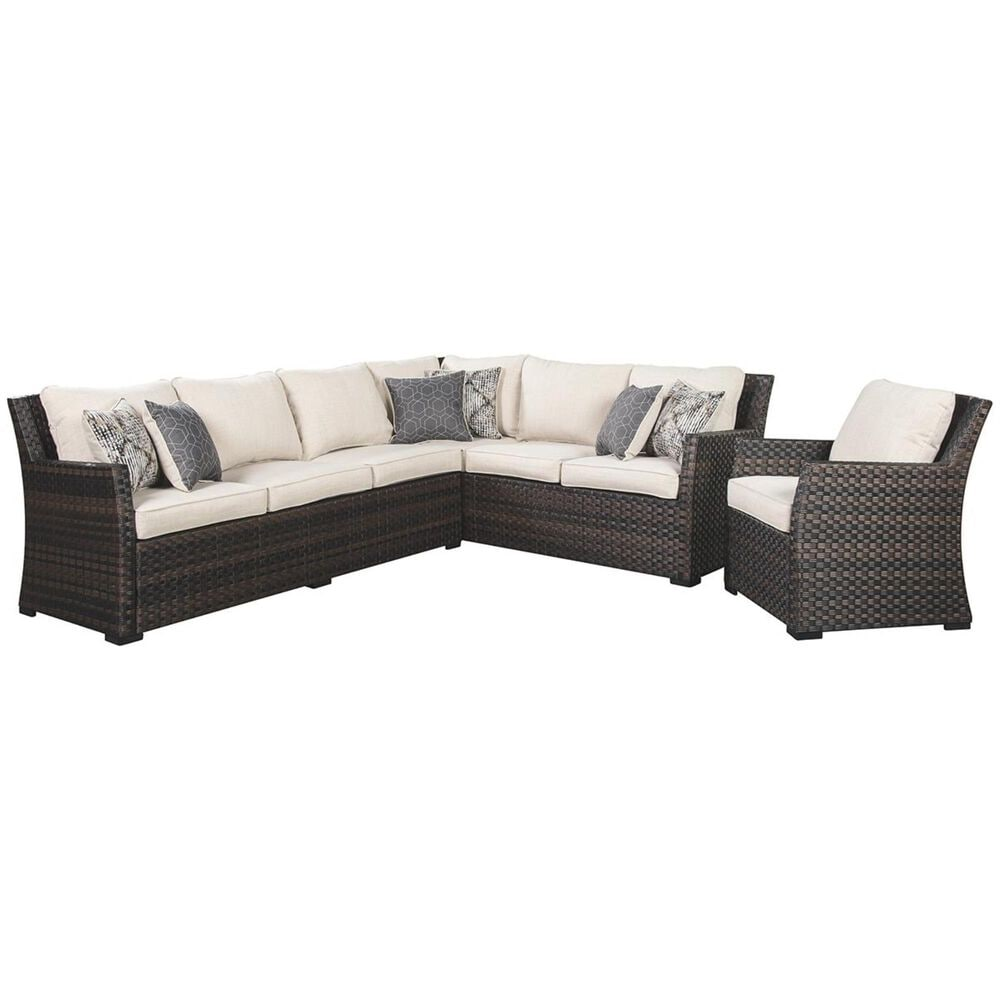Signature Design by Ashley Easy Isle 2 Piece Sofa Sectional with Chair in Dark Brown and Beige, , large