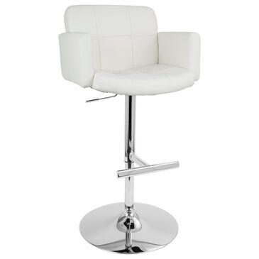 Lumisource Stout Adjustable Swivel Barstool in White/Chrome, , large