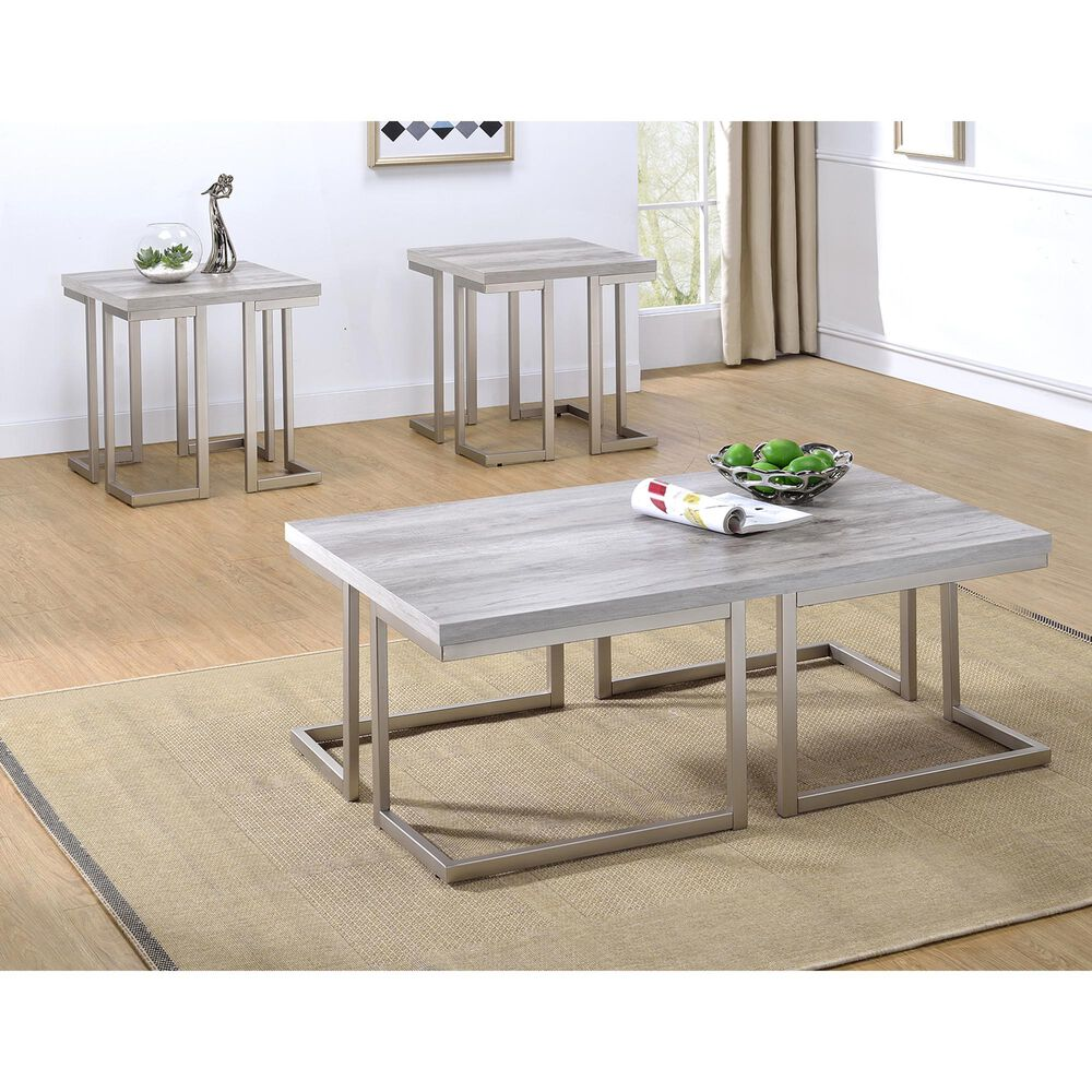 Crystal City David End Table in Pewter and Driftwood, , large
