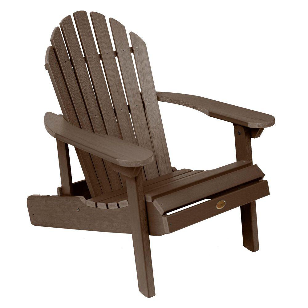 Highwood USA Hamilton Folding & Reclining Adirondack Chair in Weathered Acorn, , large
