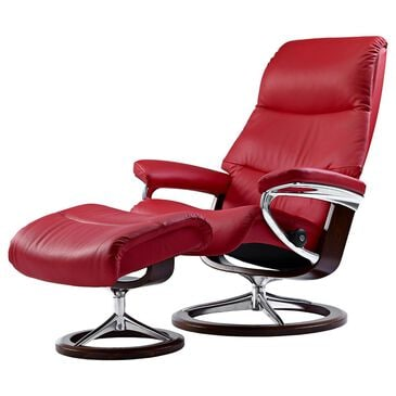 Ekornes View Medium Chair and Ottoman with Brown Signature Base in Paloma Tomato, , large