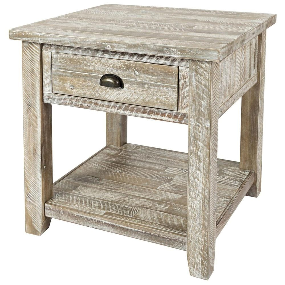 Waltham Artisan's Craft End Table in Washed Gray, , large