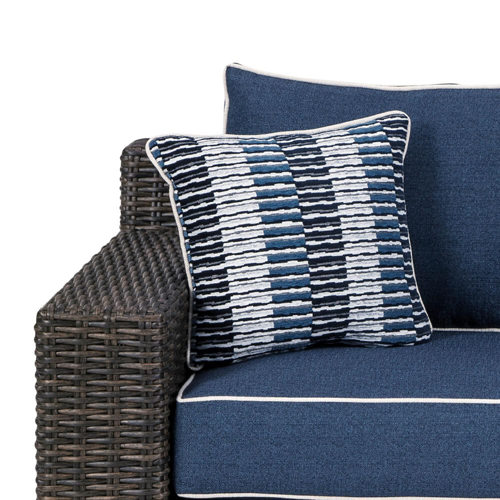 Signature Design by Ashley Grasson Lane Loveseat with Blue Cushion in Brown, , large