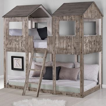 Cambria Designs Twin over Twin Treehouse Bed in Dark Grey, , large
