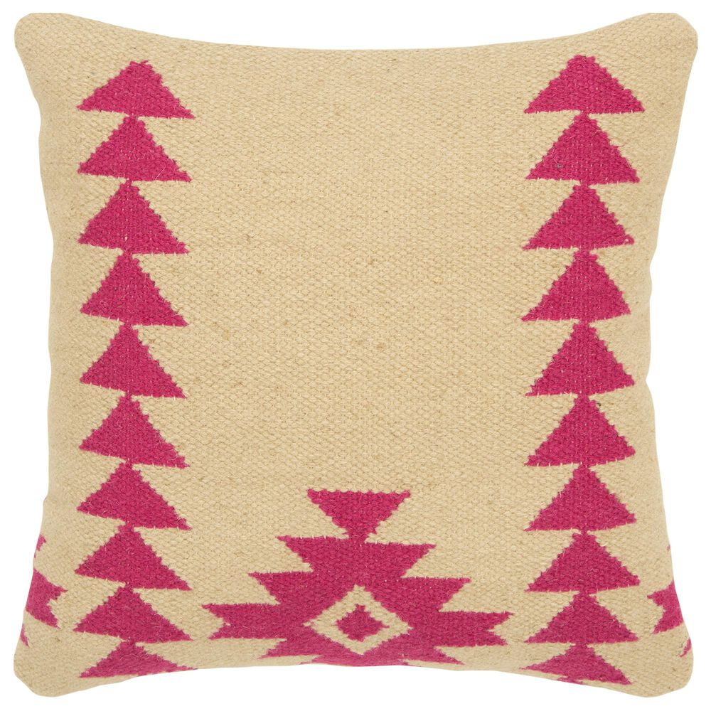 """Rizzy Home Aztek Motif 18"""" Poly Filled Pillow in Hot Pink, , large"""