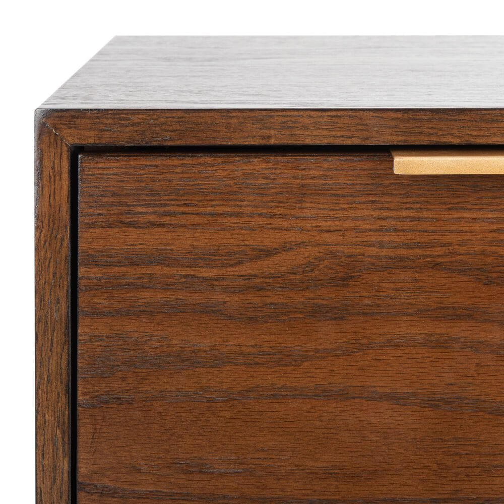 Safavieh Pierre 1 Drawer Nightstand in Walnut/Gold, , large