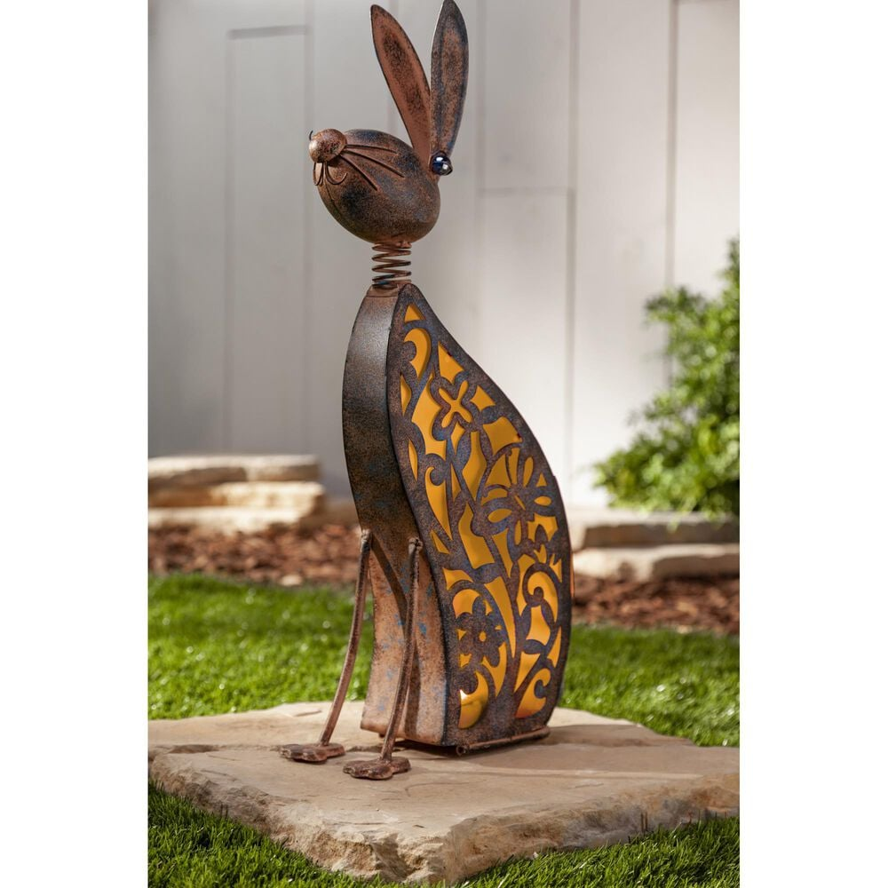 """The Gerson Company 23.03"""" Solar Lighted Garden Rabbit in Bronze, , large"""