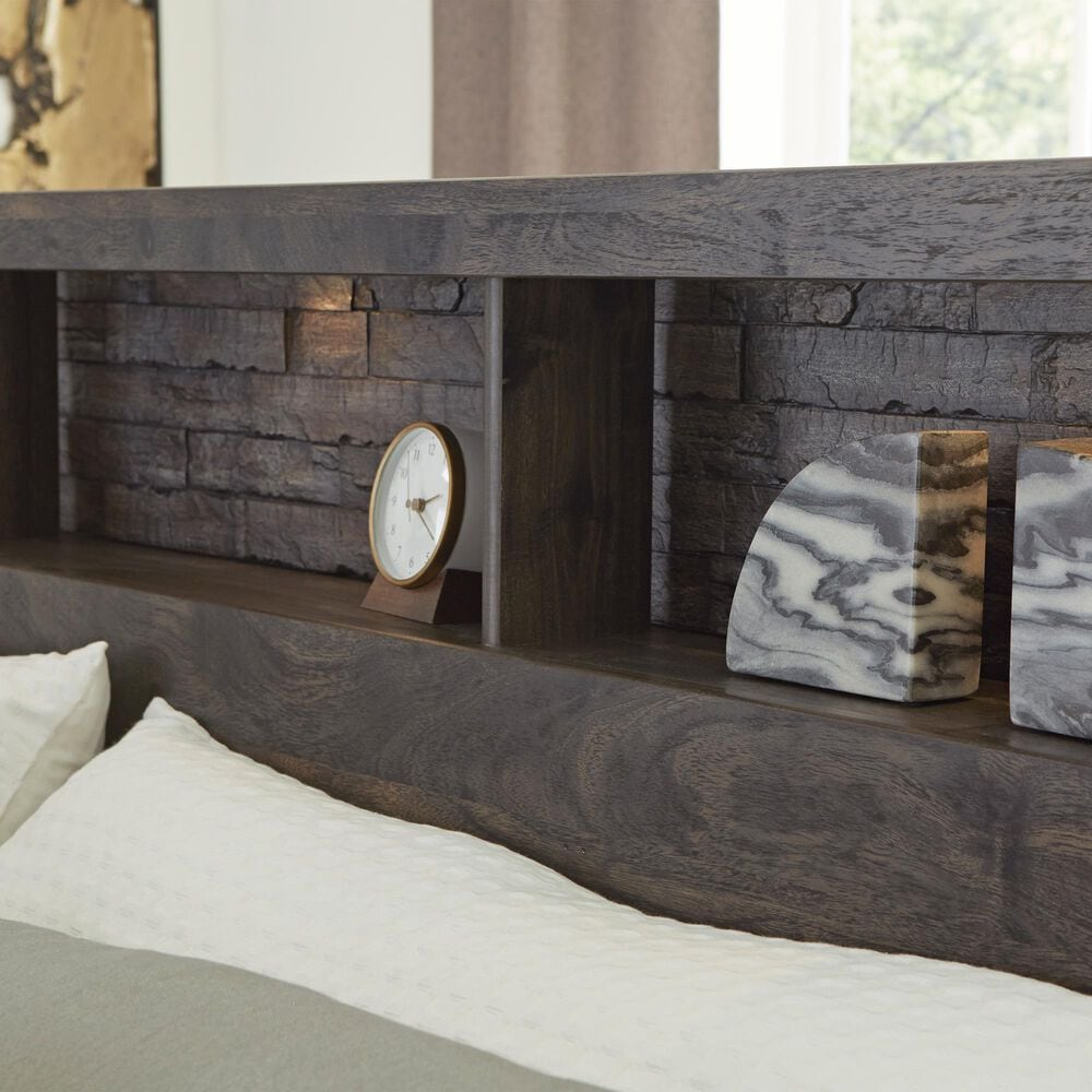 Signature Design by Ashley Vay Bay Queen LED Bookcase Headboard in Rustic Charcoal, , large