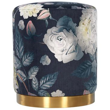 Tov Furniture Opal Floral Velvet Ottoman with Gold Base, , large
