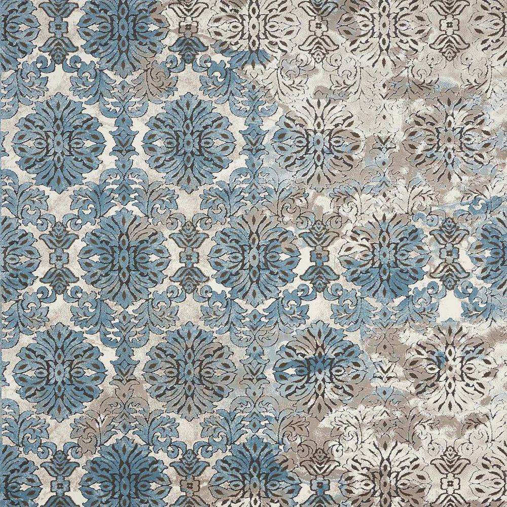"""Nourison Karma KRM05 9'3"""" x 12'9"""" Blue and Ivory Area Rug, , large"""
