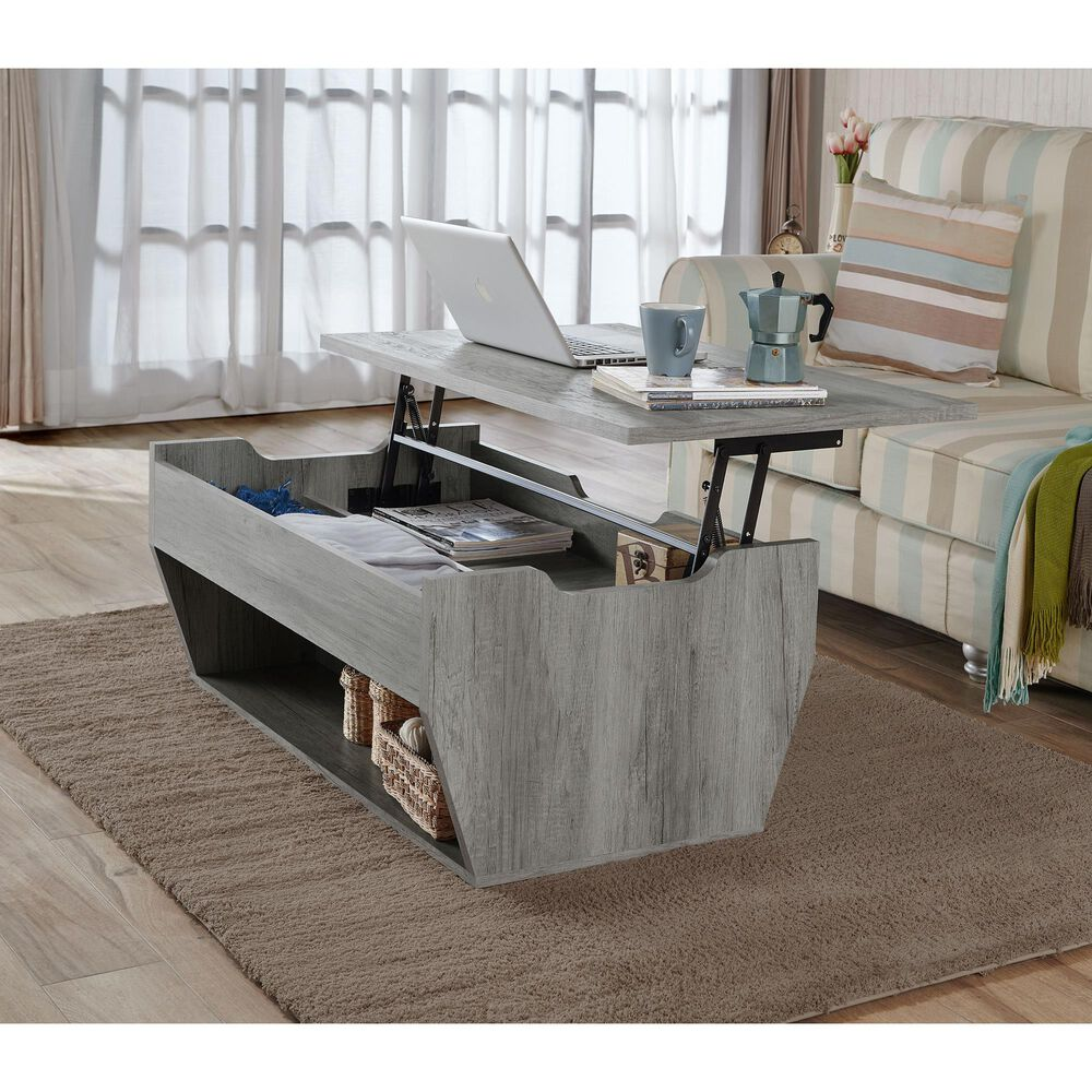 Furniture of America Mcclain Coffee Table in Distressed Gray, , large