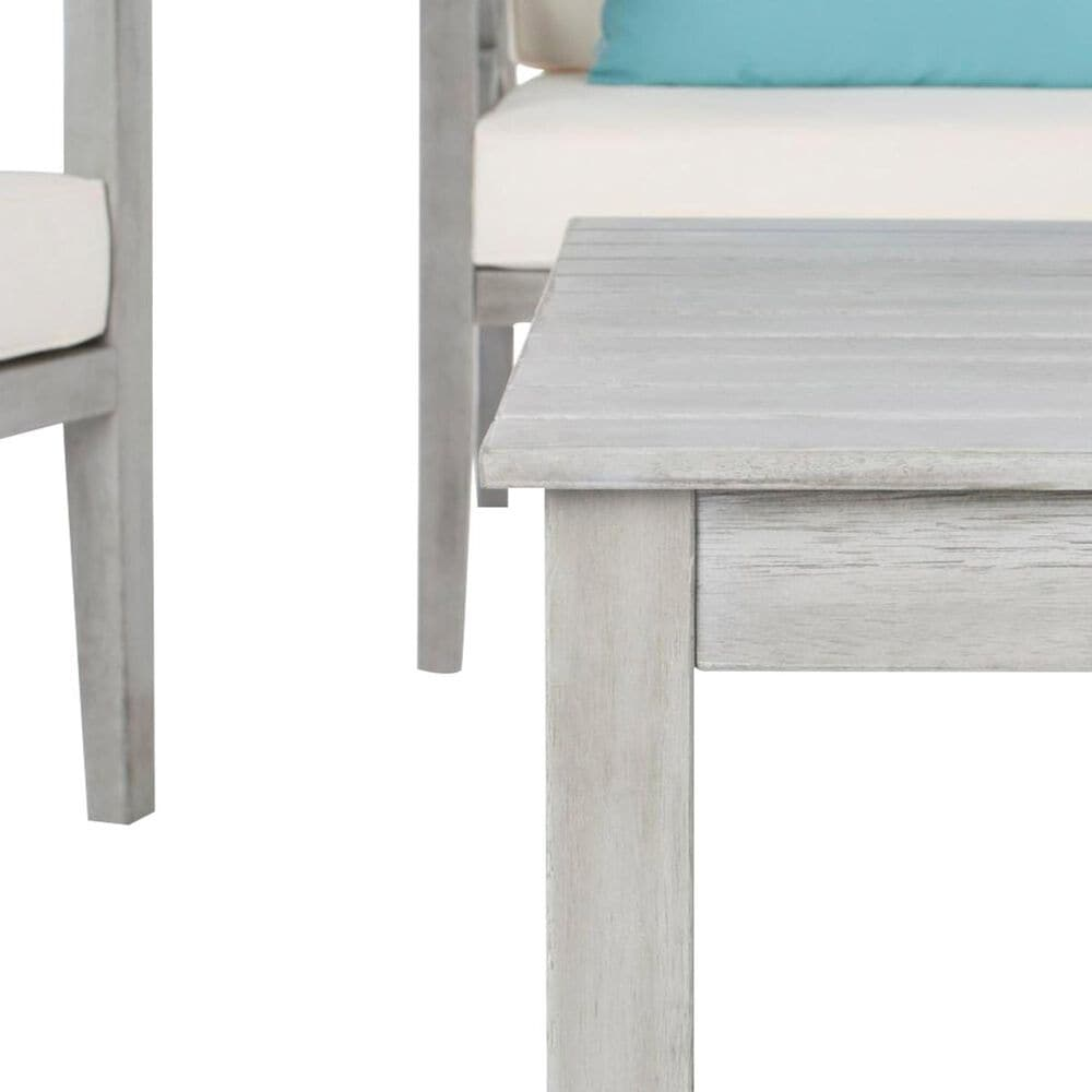 Safavieh Nunzio 4-Piece Outdoor Chat Set in Grey Wash, White, and Light Blue, , large