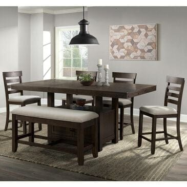 Mayberry Hill Colorado 6-Piece Counter Dining Set in Brown, , large
