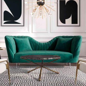 Tov Furniture Eva Velvet Sofa in Forest Green, , large