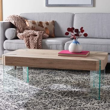 Safavieh Katelyn Coffee Table in Natural and Glass, , large