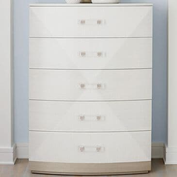 Bernhardt Axiom 5 Drawer Tall Chest in Linear White and Linear Gray, , large