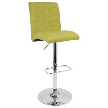 Lumisource Tintori Adjustable Swivel Barstool in Green/Chrome, , large