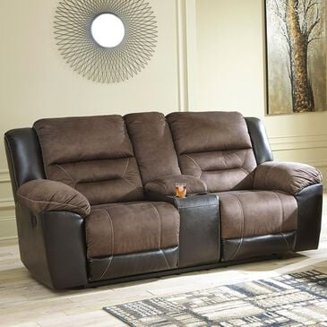 Signature Design by Ashley Earhart Manual Reclining Loveseat with Console in Chestnut, , large