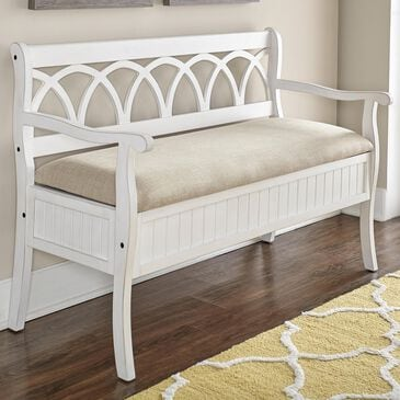 Parkerville Furniture Line Storage Bench in White, , large