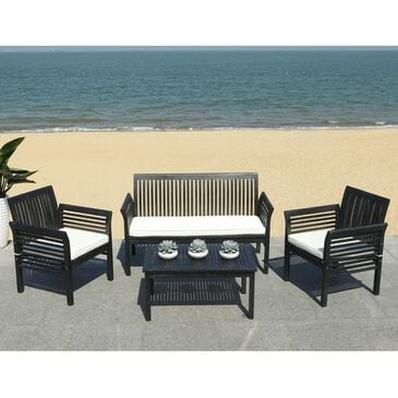 Safavieh Carson 4-Piece Outdoor Conversation Set in Black and White, , large