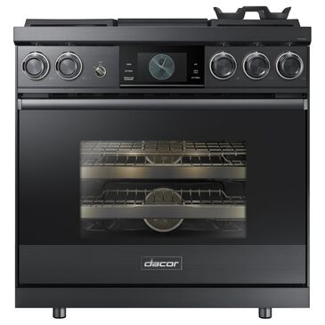 """Dacor Modernist 36"""" Pro Dual-Fuel Steam Range in Graphite Stainless Steel, , large"""