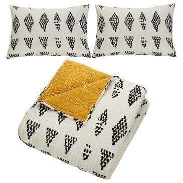 Peking Handicraft Rosperity 3-Piece Full/Queen Quilt Set in White, , large