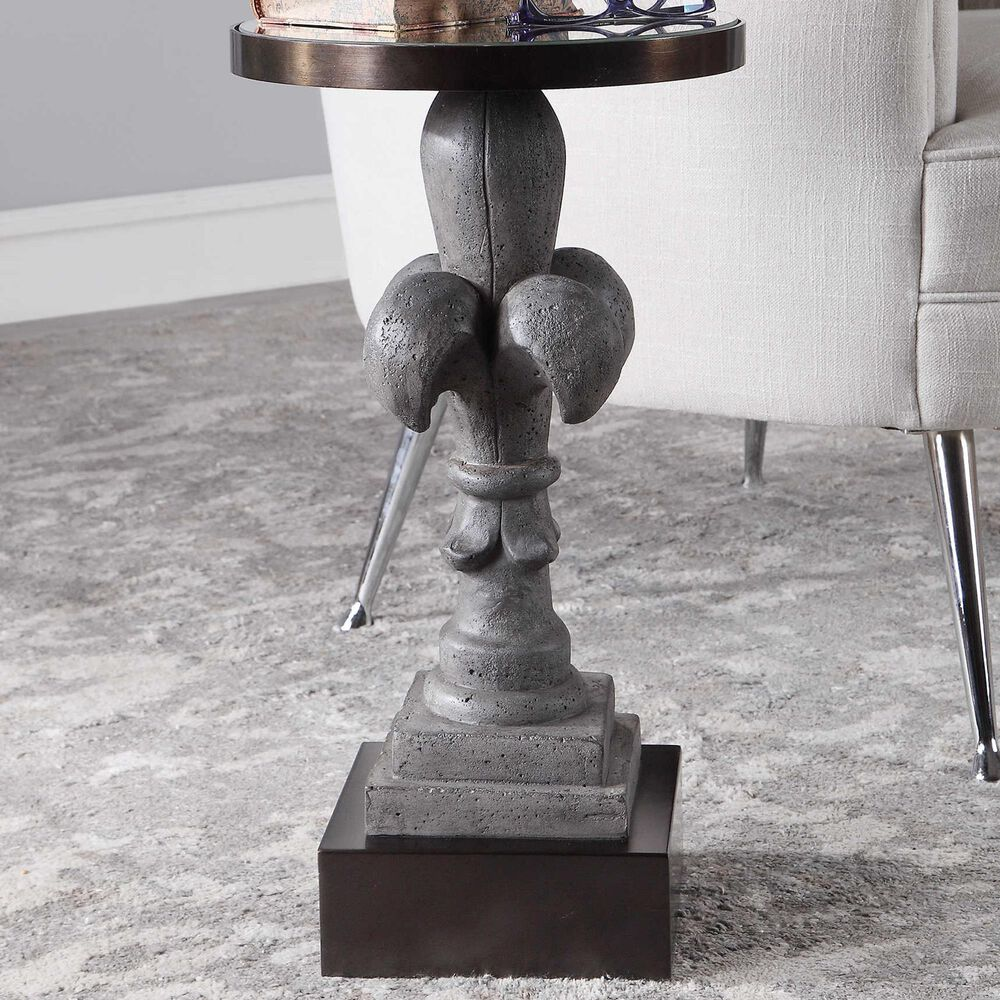 Uttermost Francois Accent Table in Aged Gray and Dark Bronze, , large