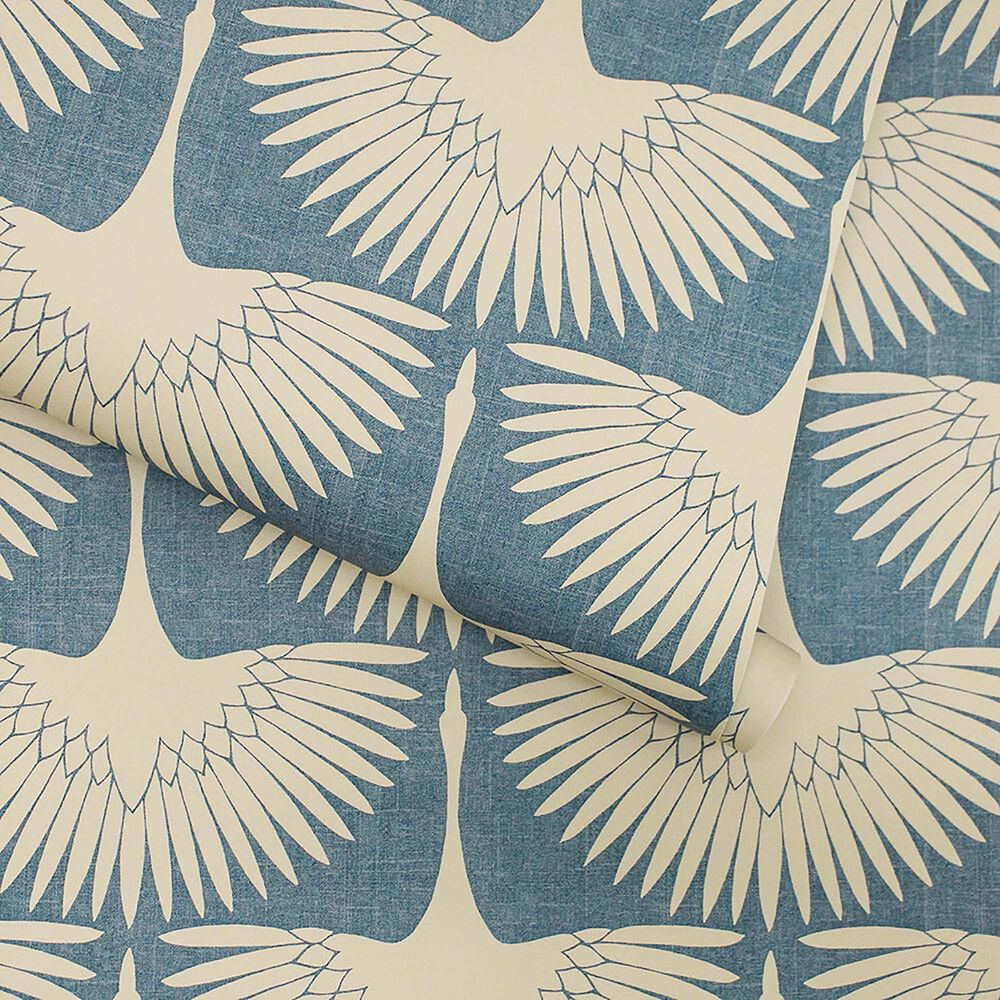 Tempaper 28 sq. ft. Genevieve Gorder Feather Flock Denim Blue Peel and Stick Wallpaper, , large