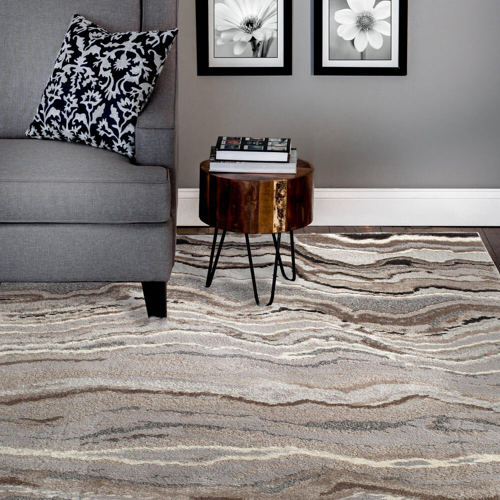 """Central Oriental Structures Torrent Lime Springs 6225MI 7'6"""" x 9'6"""" Grey and Brown Area Rug, , large"""
