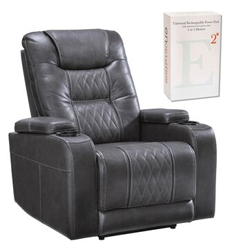 Signature Design by Ashley Composer Power Recliner with Power Headrest in Grey and 2 motor Battery Bundle, , large