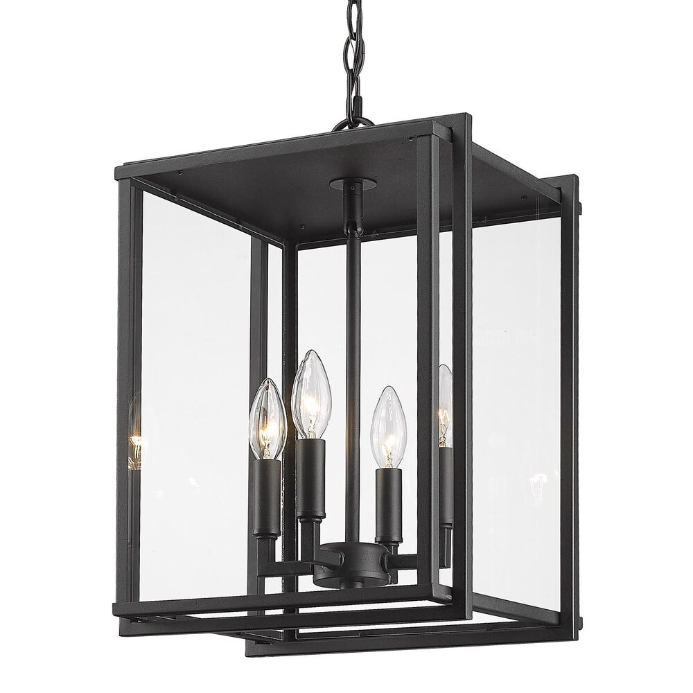 Golden Lighting Tribeca 4-Light Outdoor Pendant in Natural Black with Clear Glass, , large