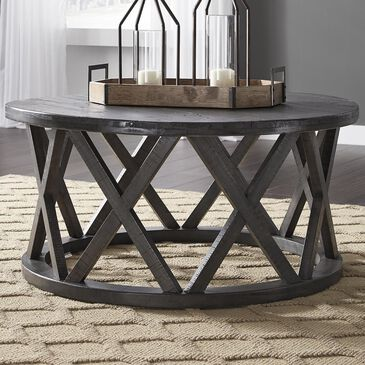 Signature Design by Ashley Sharzane Round Cocktail Table in Grayish Brown, , large